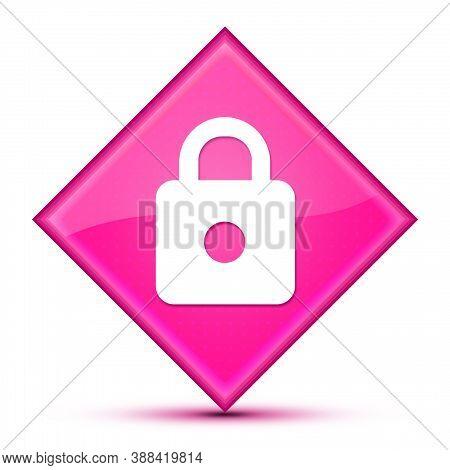 Https Icon Isolated On Luxurious Wavy Pink Diamond Button Abstract Illustration
