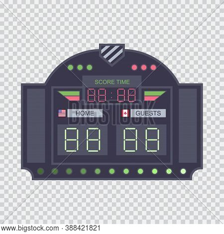 Digital Stadium Scoreboard With Clock Vector Flat Illustration Isolated On A Transparent Background.