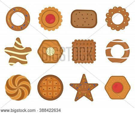 Set Of Different Chocolate And Biscuit Chip Cookies, Gingerbread And Waffle Isolated On White Backgr