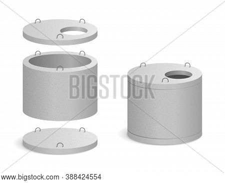 Precast Concrete Well For Rainwater Or Canalization - Realistic Vector Illustration