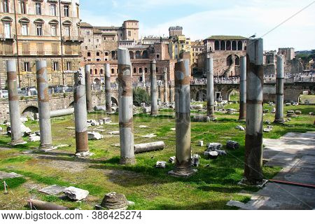 The Forum Of Trajan. Columns In The Center Of Rome Remained From The Ancient Forum. The Name Of The