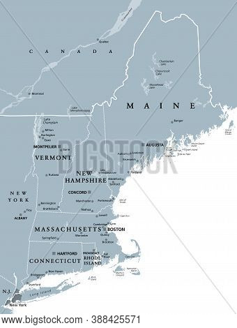 New England Region Of The United States Of America, Gray Political Map. Maine, Vermont, New Hampshir
