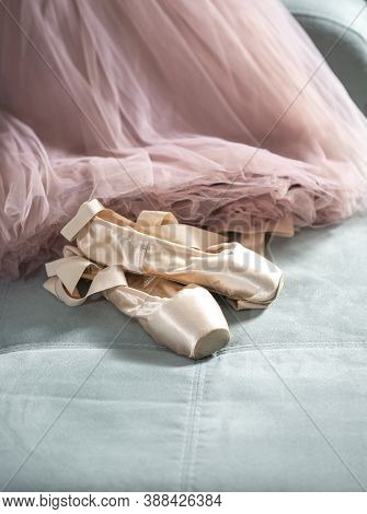 Ballet Pointe Shoes And Tutu Skirt. Distant Training With, Social Distance Or Self-isolation, Online