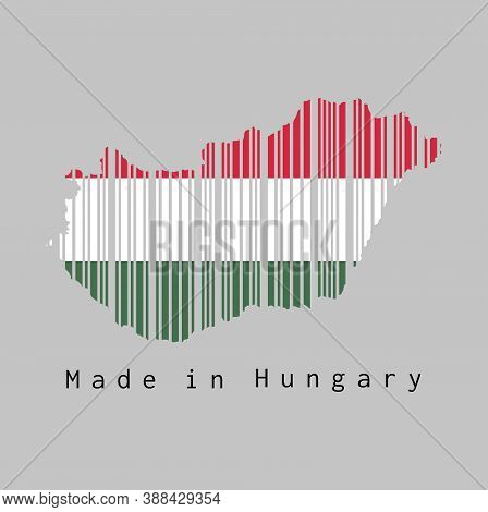 Barcode Set The Shape To Hungary Map Outline And The Color Of Hungary Flag On Grey Background, Text: