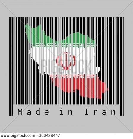 Barcode Set The Shape To Iran Map Outline And The Color Of Iran Flag On Black Barcode With Grey Back