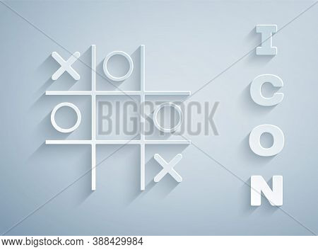 Paper Cut Tic Tac Toe Game Icon Isolated On Grey Background. Paper Art Style. Vector