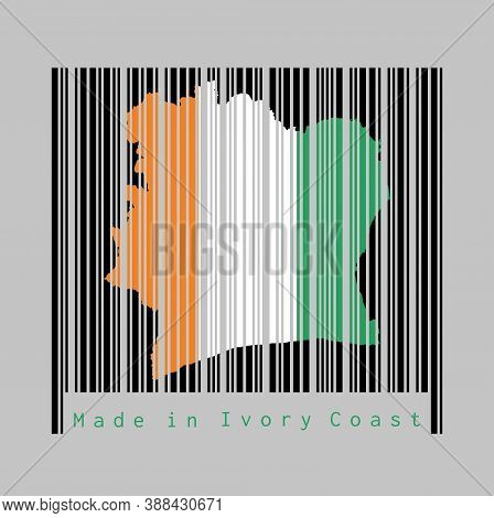 Barcode Set The Shape To Ivory Coast Map Outline And The Color Of Ivory Coast Flag On Black Barcode