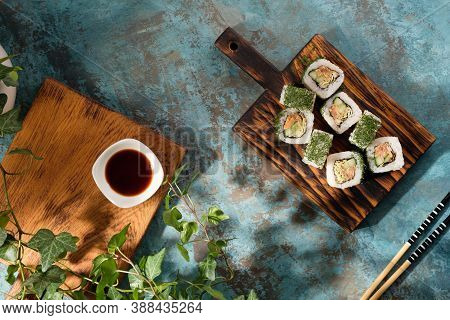 Unusual Composition Of Rolls. A Portion Of Rolls With An Unusual Filling. Top View Of Sushi.