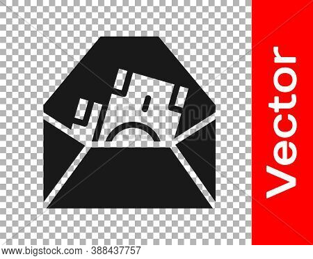 Black Envelope With Coin Dollar Symbol Icon Isolated On Transparent Background. Salary Increase, Mon