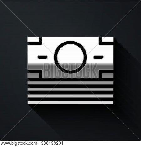 Silver Stacks Paper Money Cash Icon Isolated On Black Background. Money Banknotes Stacks. Bill Curre
