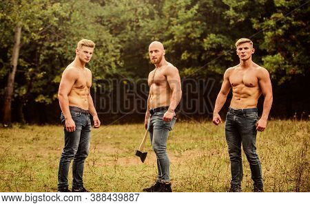Brotherhood Concept. Strength And Perseverance. Men With Muscular Torso. Strong Men Nature Backgroun