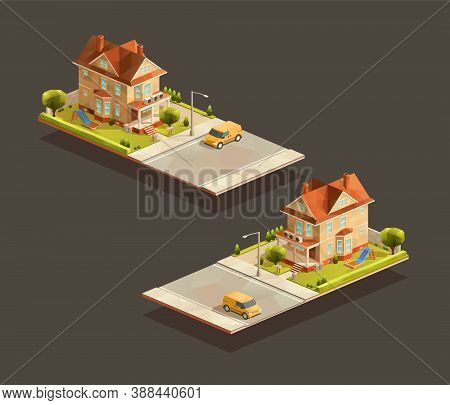 Isometric Family House With Minivan On Street. Low Poly Suburban Vector Illustration