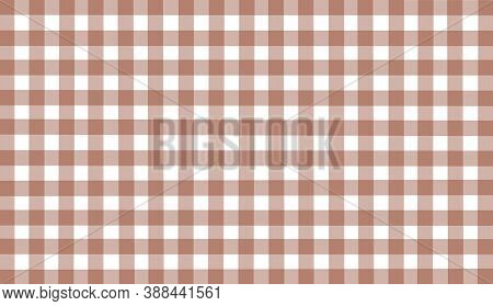 Brown White Checkered Background. Space For Graphic Design. Checkered Texture. Classic Checkered Geo
