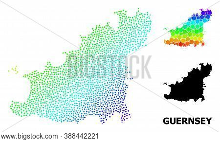 Pixel Bright Spectral, And Monochrome Map Of Guernsey Island, And Black Caption. Vector Model Is Cre