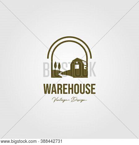 Creek And Barn Logo Vector Design, Vintage Warehouse Vector Logo Design