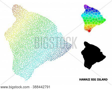 Dot Spectrum, And Monochrome Map Of Hawaii Big Island, And Black Title. Vector Model Is Created From