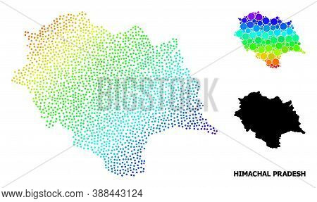 Pixel Bright Spectral, And Solid Map Of Himachal Pradesh State, And Black Tag. Vector Model Is Creat