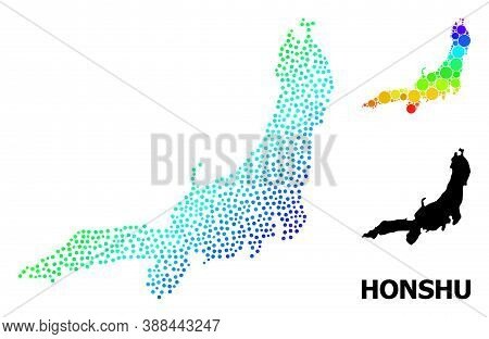 Pixel Rainbow Gradient, And Solid Map Of Honshu Island, And Black Text. Vector Model Is Created From