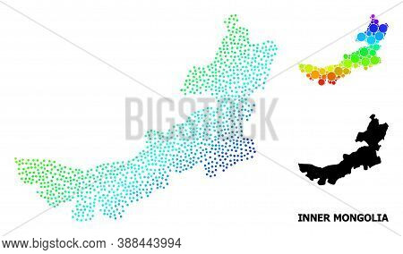 Pixel Bright Spectral, And Monochrome Map Of Inner Mongolia, And Black Tag. Vector Model Is Created
