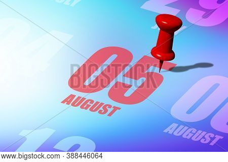 August 5th. Day 5 Of Month, Red Date Written And Pinned On A Calendar To Remind You An Important Eve