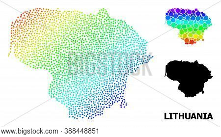 Pixel Spectrum, And Monochrome Map Of Lithuania, And Black Name. Vector Structure Is Created From Ma