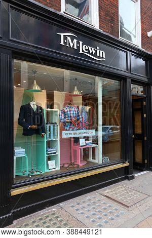 London, Uk - July 7, 2016: T.m. Lewin Fashion Shop At New Bond Street In London. Bond Street Is A Ma