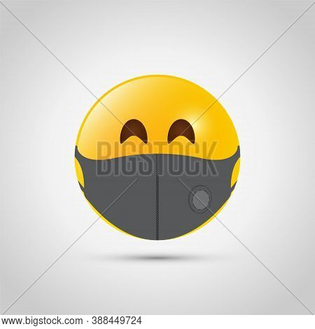 Emoji With Grey Mouth Respiratory Mask. Yellow Emoji Icon On Grey Template. Medical Face Mask