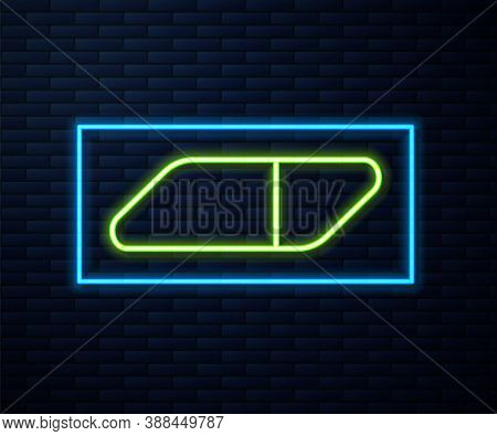 Glowing Neon Line Eraser Or Rubber Icon Isolated On Brick Wall Background. Vector Illustration