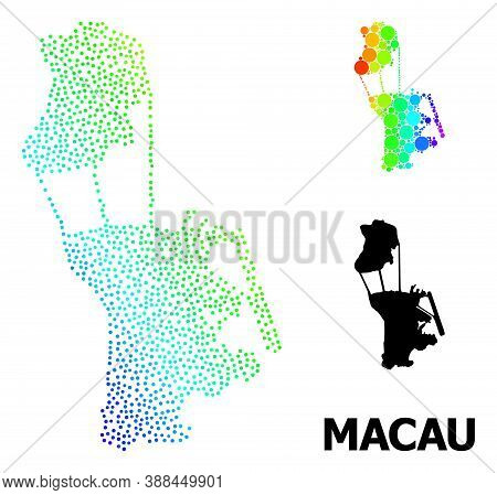 Pixel Spectrum, And Solid Map Of Macau, And Black Tag. Vector Model Is Created From Map Of Macau Wit