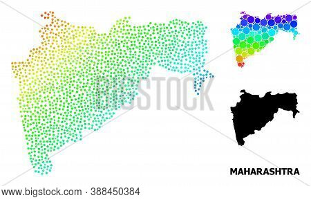 Dot Spectral, And Monochrome Map Of Maharashtra State, And Black Caption. Vector Structure Is Create