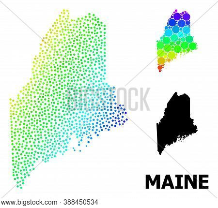 Dot Rainbow Gradient, And Solid Map Of Maine State, And Black Name. Vector Structure Is Created From
