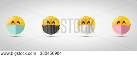 Set Emoji In Colorful Mouth Masks. Virus Protection. Yellow Emoji Icon On Grey Template
