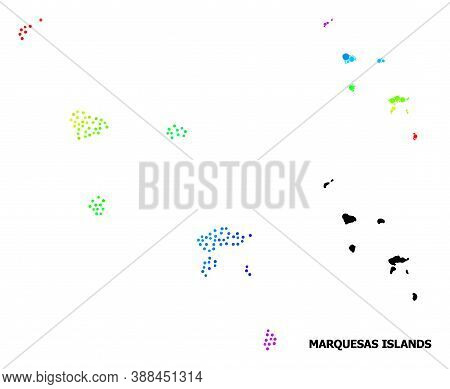 Pixelated Rainbow Gradient, And Monochrome Map Of Marquesas Islands, And Black Tag. Vector Model Is
