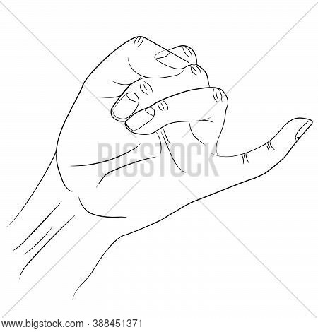 Isolated Silhouette Of Little Finger From Human Hand Raised Up In Gesture Of Promise.