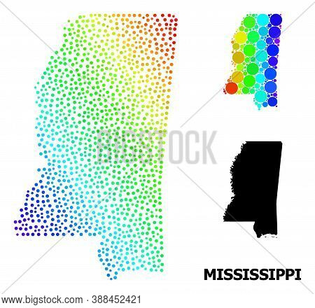 Dotted Rainbow Gradient, And Solid Map Of Mississippi State, And Black Text. Vector Model Is Created