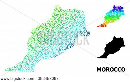 Pixelated Rainbow Gradient, And Solid Map Of Morocco, And Black Title. Vector Structure Is Created F
