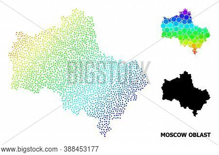 Pixelated Bright Spectral, And Monochrome Map Of Moscow Region, And Black Caption. Vector Structure
