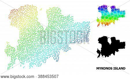 Dotted Bright Spectral, And Solid Map Of Mykonos Island, And Black Caption. Vector Model Is Created
