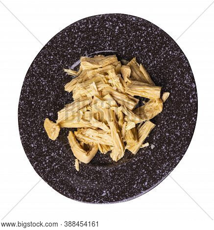 Soy Asparagus Noodles On Brown Plate, Isolated On A White Background. Healthy Food . Asian Food. Soy