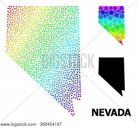 Dot Spectrum, And Solid Map Of Nevada State, And Black Title. Vector Model Is Created From Map Of Ne