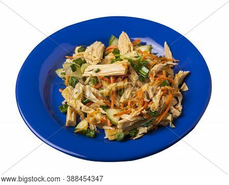 Salad With Soy Asparagus And Carrots, Cucumbers And Dumplings On Blue Plate. Vegetarian Soy Salad On