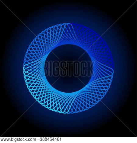 Glowing Spirograph. Circle Soundwave. Minimal Line Pattern. Ordered Waves. Cosmic Waveform. Blue Ene