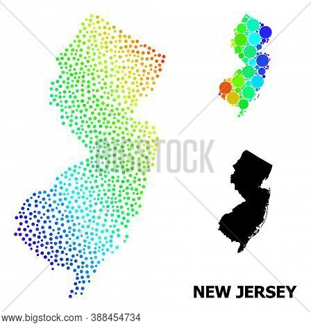 Pixelated Spectral, And Solid Map Of New Jersey State, And Black Title. Vector Structure Is Created