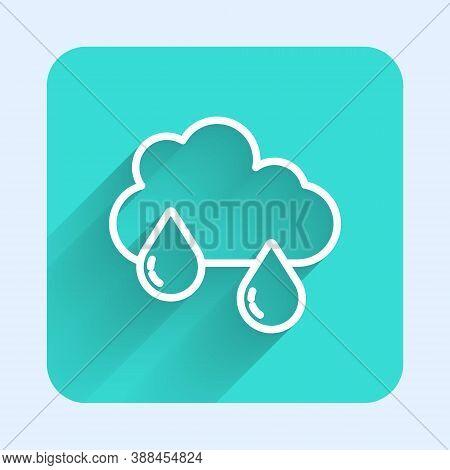 White Line Cloud With Rain Icon Isolated With Long Shadow. Rain Cloud Precipitation With Rain Drops.