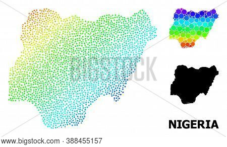 Pixelated Spectrum, And Solid Map Of Nigeria, And Black Title. Vector Model Is Created From Map Of N
