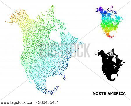 Dot Rainbow Gradient, And Monochrome Map Of North America, And Black Text. Vector Model Is Created F