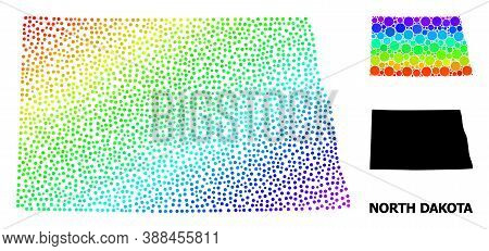 Dot Rainbow Gradient, And Solid Map Of North Dakota State, And Black Tag. Vector Structure Is Create