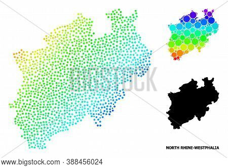 Dotted Spectrum, And Solid Map Of North Rhine-westphalia State, And Black Title. Vector Model Is Cre