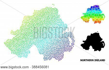 Dot Bright Spectral, And Monochrome Map Of Northern Ireland, And Black Name. Vector Structure Is Cre