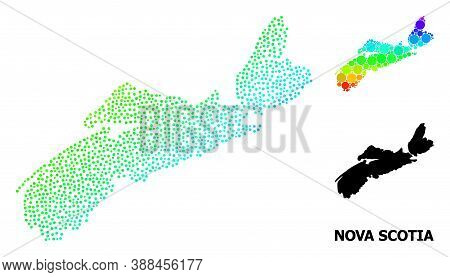 Dot Bright Spectral, And Monochrome Map Of Nova Scotia Province, And Black Tag. Vector Model Is Crea